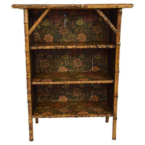 19th-Century Bamboo Open Bookcase