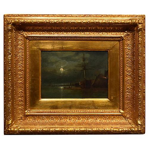 """19th-Century Oil on Canvas-""""Moonlight"""""""