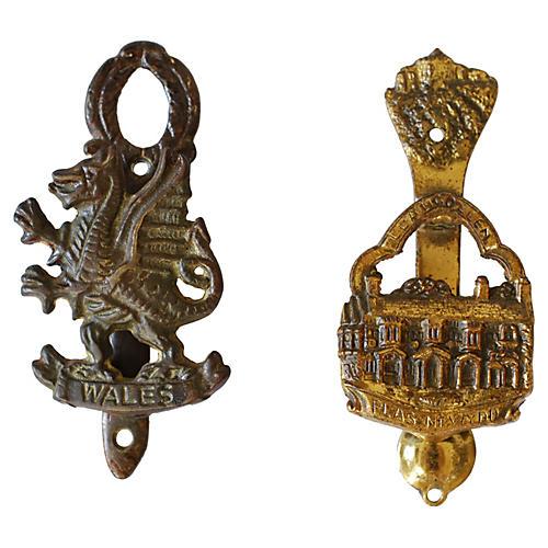 Welsh Brass Door Knockers, Pair