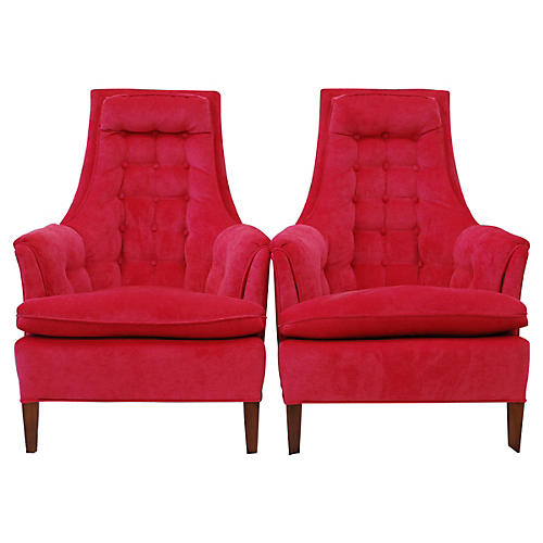1960s High Back Chairs, Pair