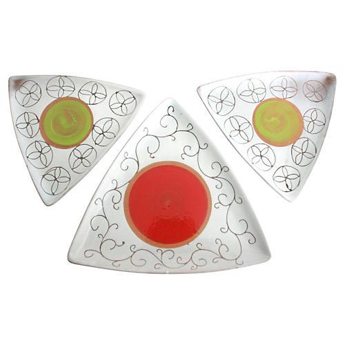 Italian Pottery Dishes, Set of 3