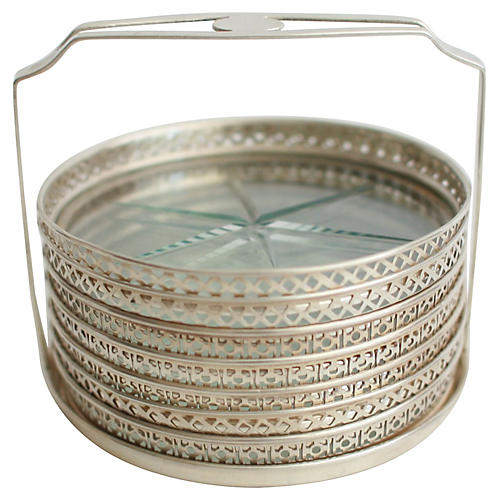 Sterling Silver & Glass Coasters, 8 Pcs