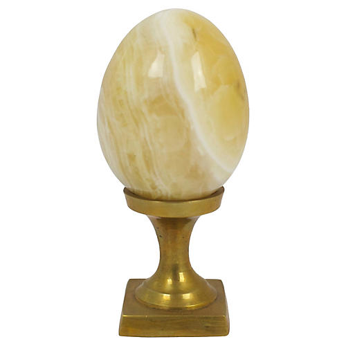 Onyx Egg Paperweight on Brass Stand