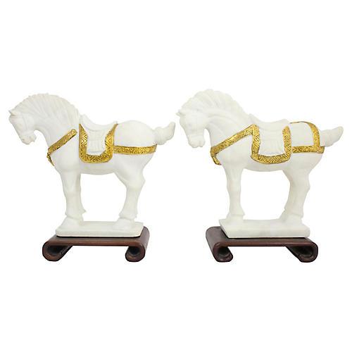 Marble War Horses, Pair