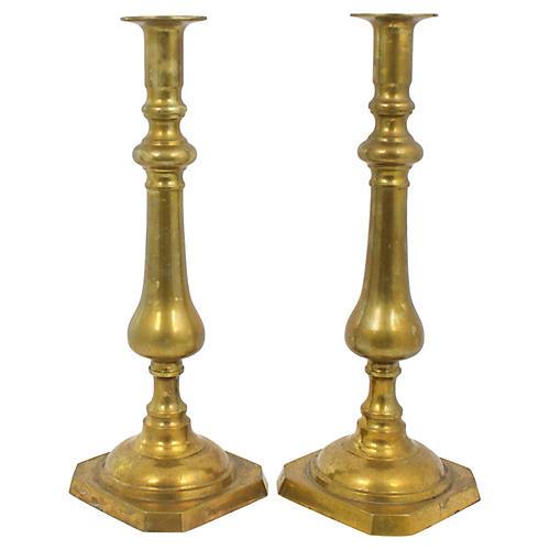 Tall Brass Candlesticks, Pr