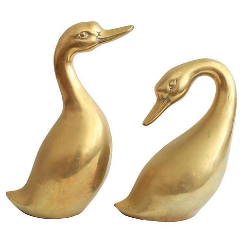 Mid-Century Brass Geese, Pr