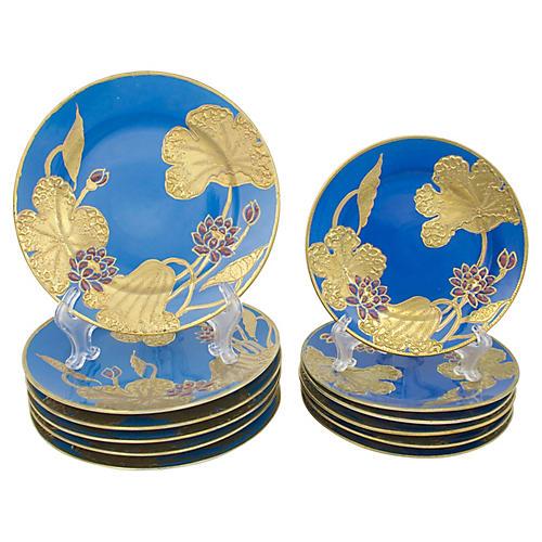 Art Nouveau Nippon Plates, S/12