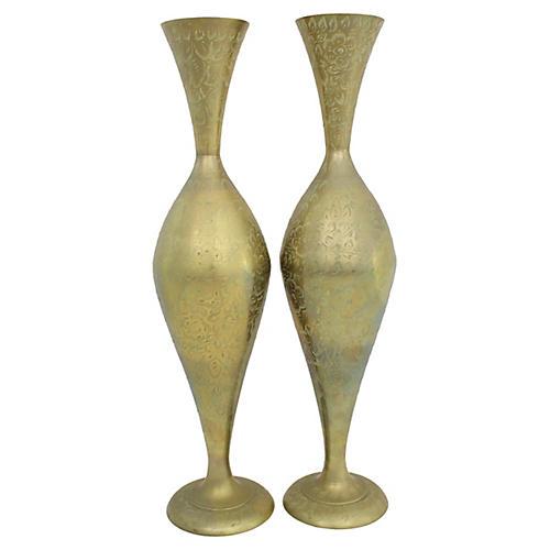 Tall Engraved Brass Vases, Pr