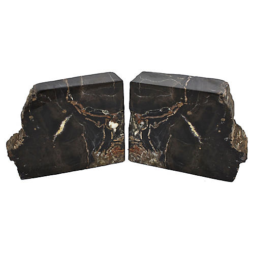 Mid-Century Petrified Wood Bookends