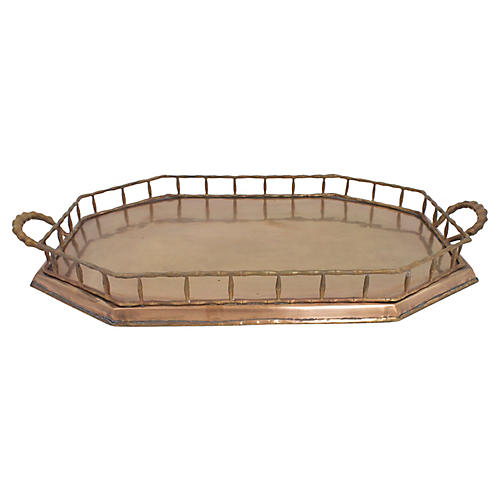 Large Faux Bamboo Brass Tray