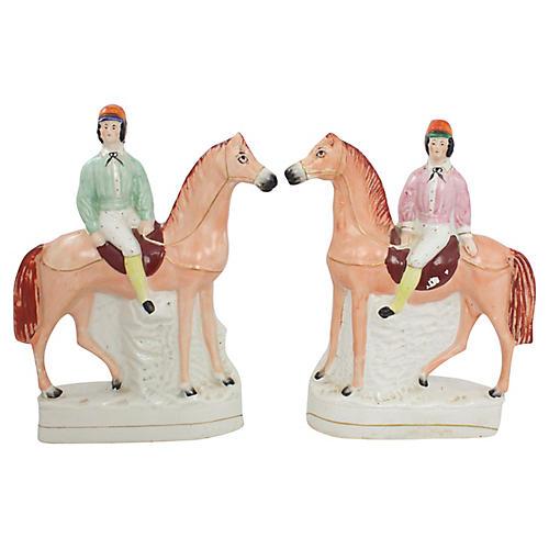 Large 19th C. Staffordshire Figures, Pr