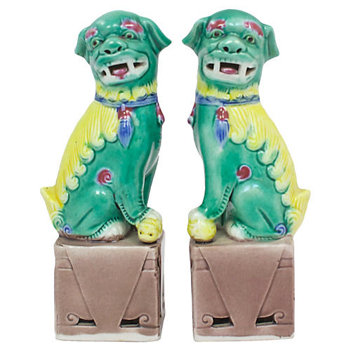 Hand-Painted Foo Dogs, Pair