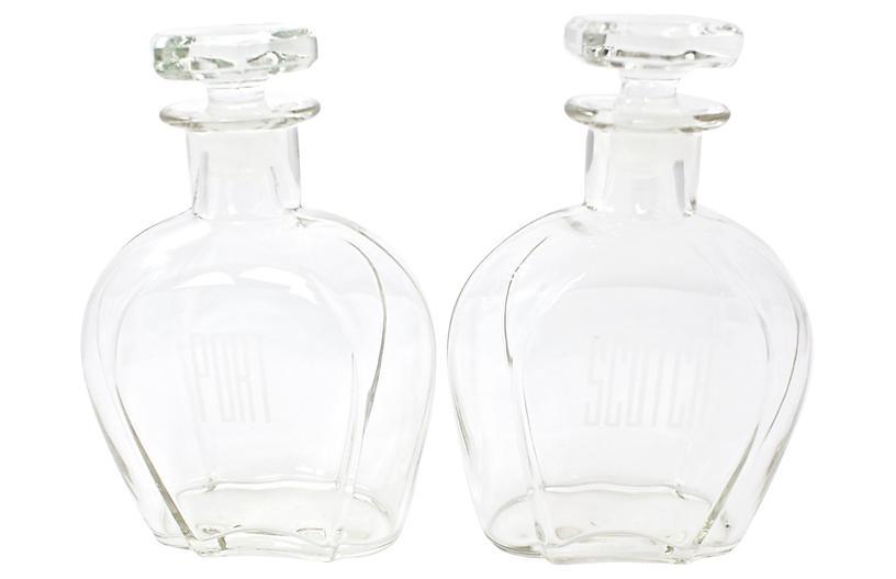 Midcentury Liquor Decanters, Pair