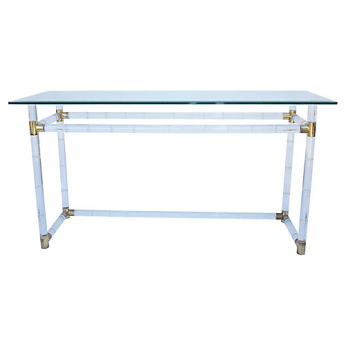 Lucite & Glass Console Table