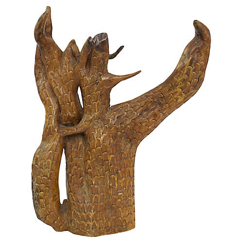 Carved Wooden Tree Sculpture