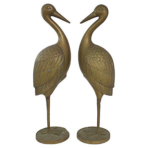 Large Brass Egrets, Pr