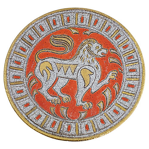 Italian Sgraffito Lion Bowl