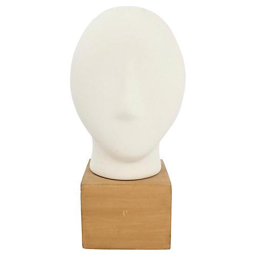 Modern Porcelain Bust on Wood