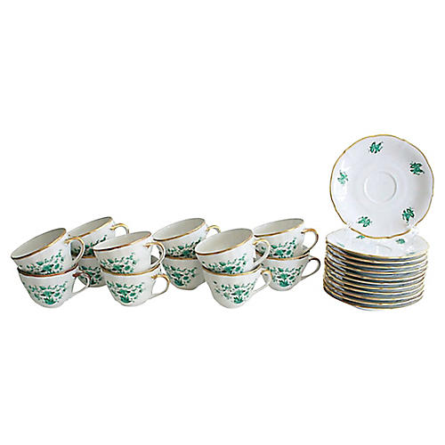 1950s Bavarian Teacups, Svc. for 12