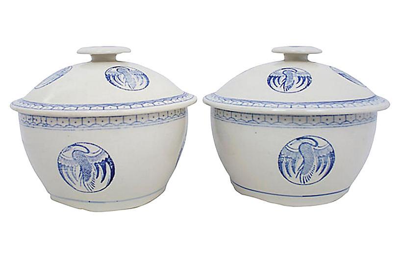 Blue & White Stoneware Covered Bowls,S/2