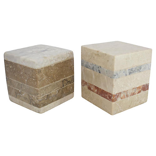 Tesselated Marble Cubes, Pair