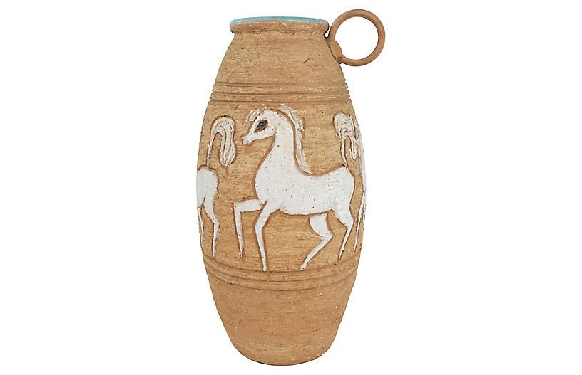 Italian Sgraffito Pottery Horse Vase