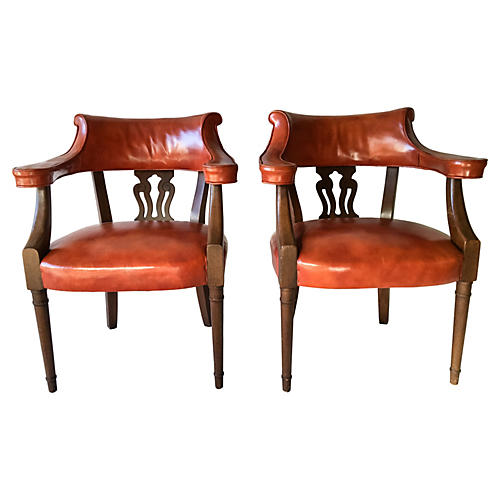 Leather Chairs by Hickory Chair, S/2