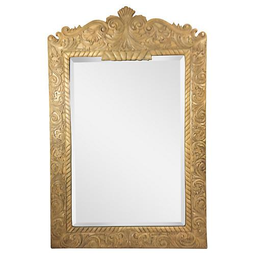 Ornately Carved Wood Mirror