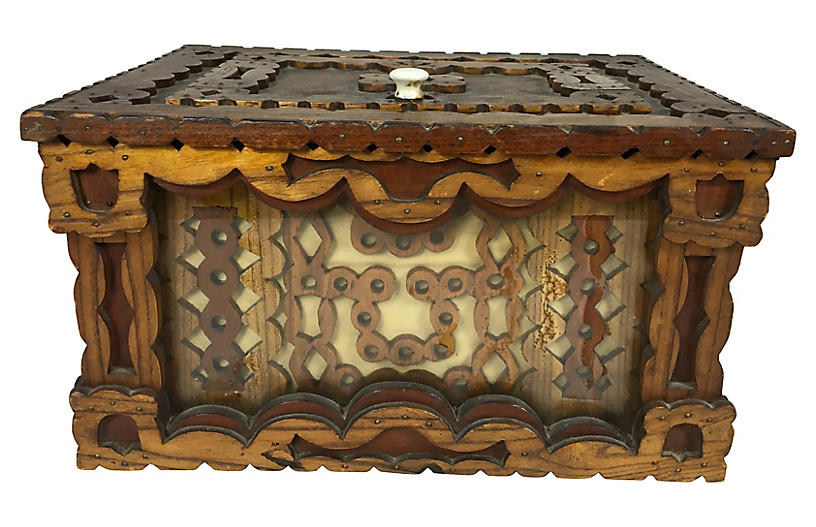 Antique Carved Trampware Style Box