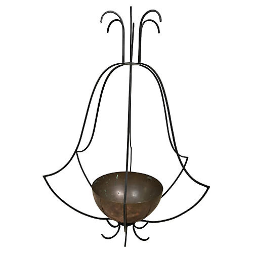 Large Iron and Copper Hanging Planter
