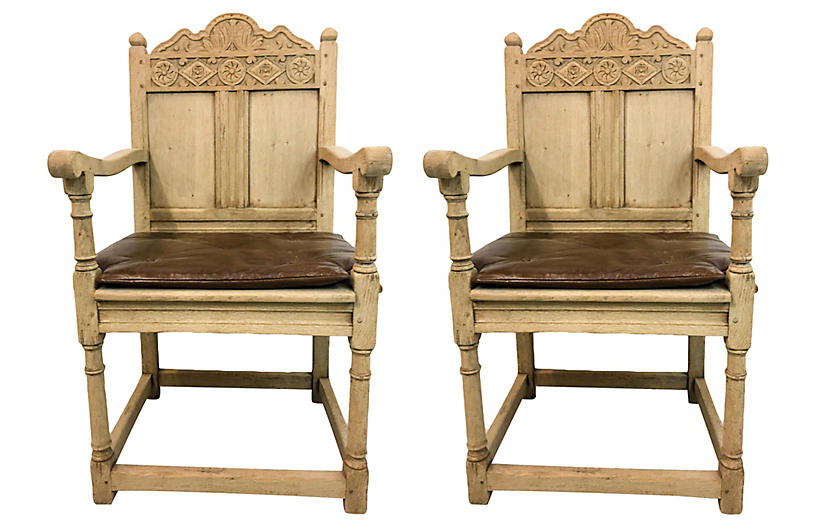 19th-C. Bleached Oak French Chairs,Pair