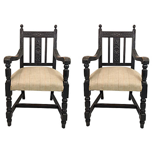 19th-C. Carved French Oak Chairs,Pair