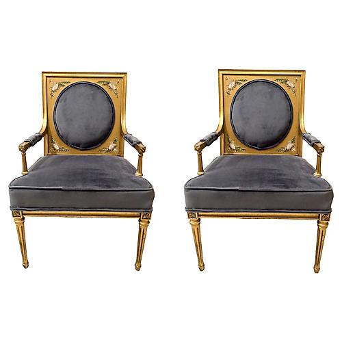 Gilded Italian Armchairs, Pair