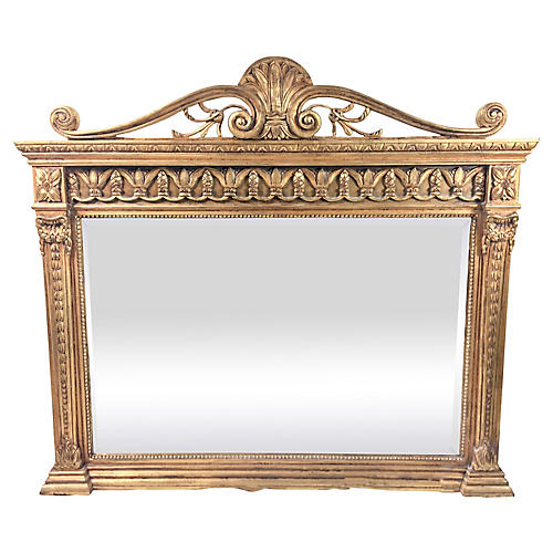 1950s Carved Giltwood Italian Mirror
