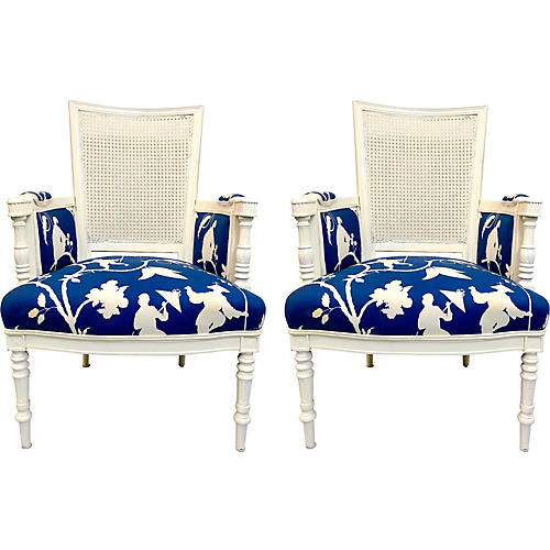 French Style Chairs in Chinoiserie, Pair