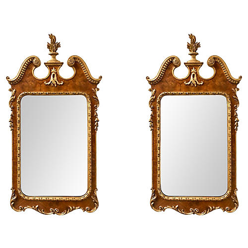 Italian Giltwood Labarge Mirrors,Pair
