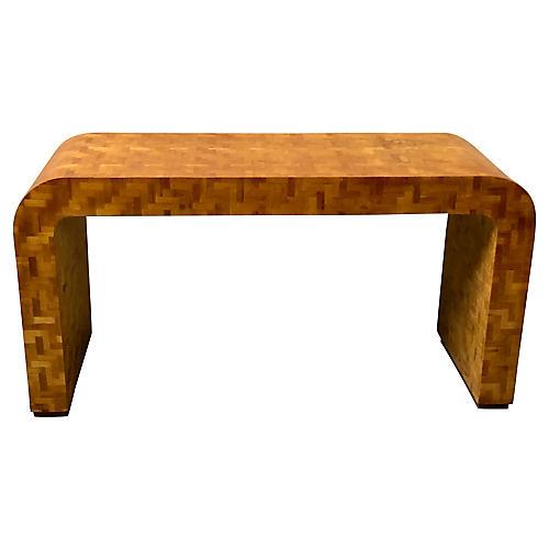 Burl Console Table att.Milo Baughman