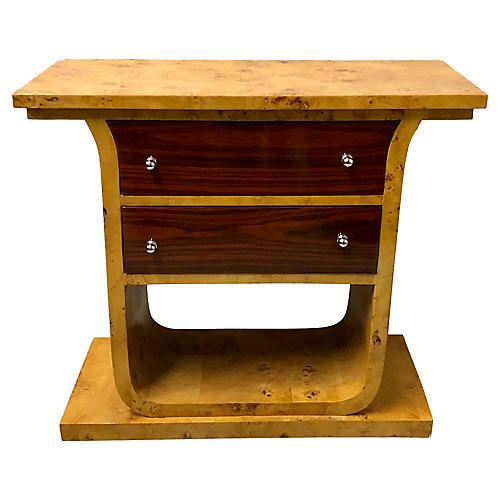English Burlwood Deco Console Table