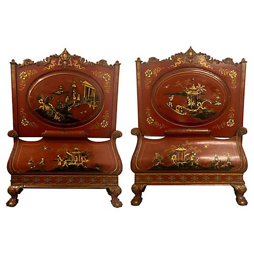 1930s Chinoiserie Twin Beds,Pair
