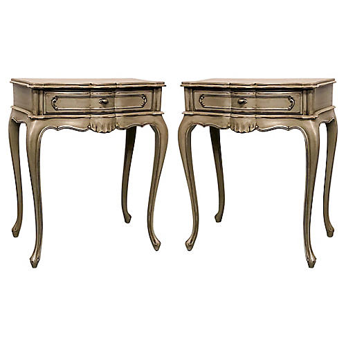 Carved French Style Side Tables,Pair
