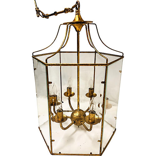 Gilt Metal Lantern Chandelier