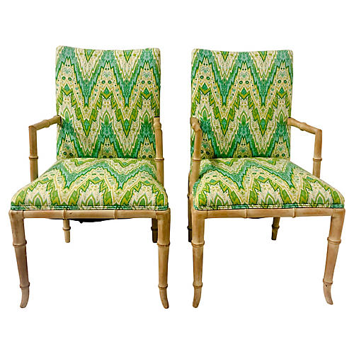 Faux-Bamboo Armchairs,Pair