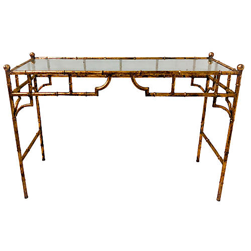 Gilt Metal Faux Bamboo Console Table