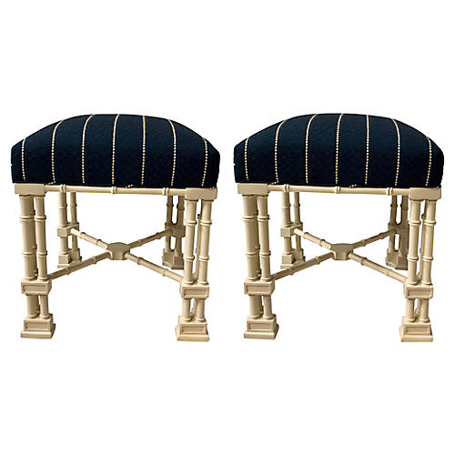 E.Lambeth Chippendale Style Ottomans,S/2