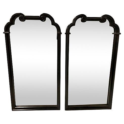 Black Lacquer Wall Mirrors,Pair