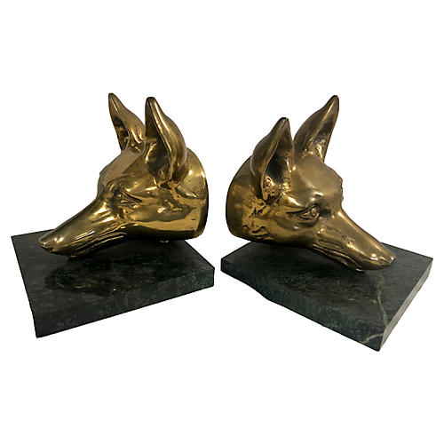 Large Brass Fox Bookends, Pair