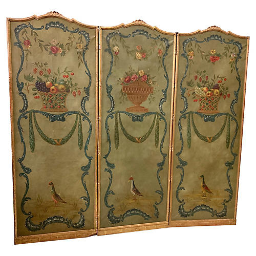 1950s Hand Painted French Screen