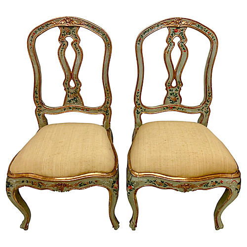 19th C. Painted Venetian Side Chairs,S/2