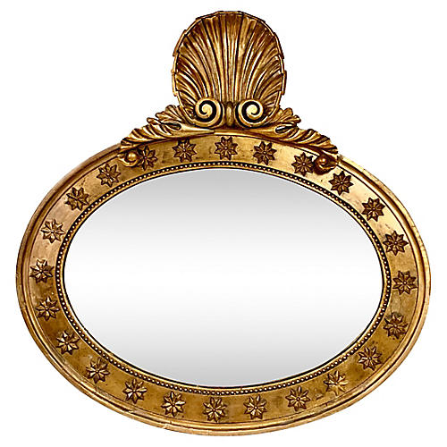19th-C. Continental Carved Shell Mirror