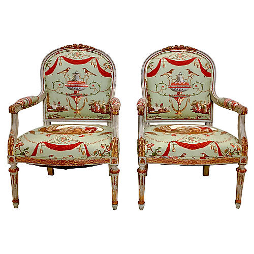 19th-C. French Bergere Chairs,Pair